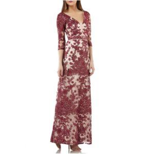 JS Collections Embroidered Lace V-Neck Gown dress